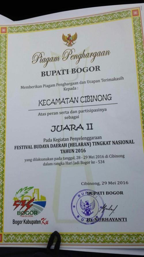 Juara II Festival Budaya Daerah (HELARAN) Tingkat Nasional Kab. Bogor Tahun 2016
